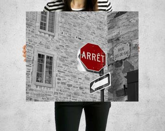 Optical Illusion Art, French Street Sign Photo, Stop Sign, French Sign, Quebec City Photo, Sign Photo, Black and White Photo, Red Wall Art
