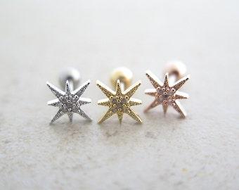 Starburst Ear Piercing/Starburst Earring/Tragus Earring/Cartilage earring/piercing/Cartilage piercing/Tragus piercing/Earrings/Gold earring