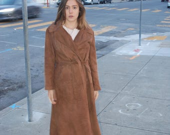 70s Long Brown Belted Suede Trench Coat