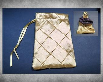 "Lined Pintuck Taffeta - 6x9"" Gold drawstring bag with plum purple taffeta lining. LBAG-705"