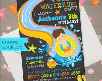 WATER SLIDE Invitation Boys Waterslide Birthday Water Slide Birthday Invitation Waterslide Invitation Backyard Summer Pool Party Water Park