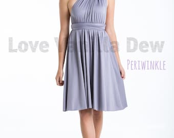 Bridesmaid Dress Infinity Dress Periwinkle Straight Hem Knee Length Wrap Convertible Dress Wedding Dress