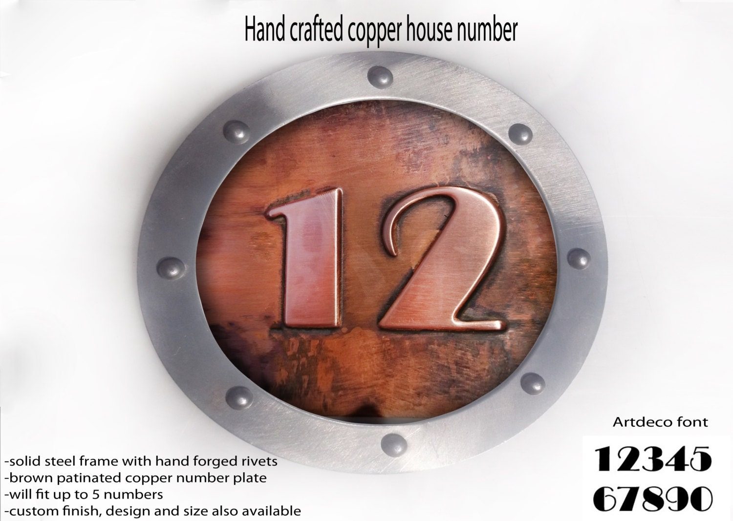 Famous Medium copper house number,Metal house number, ROUNDED shape,Hand  NM55