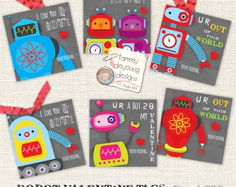 Valentines Day cards for Kids, Robot Valentines tags  boys or girls, DIY Printable Valentines treat bag labels, Robot school valentines