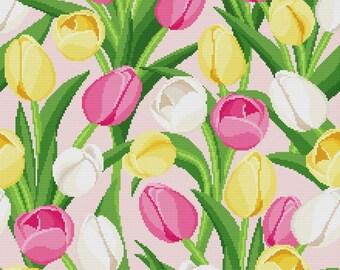 """Cross stitch pattern """"Pillow - Tulips"""""""