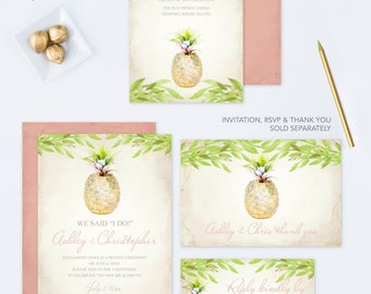 Wedding Details Card, Editable PDF Template, Watercolor Pineapple, Printable Insert Cards, Part of Printable Invitation Template Wedding Set