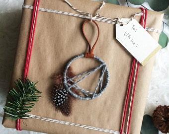 Modern Holiday Decor - Hostess Gift - Mini Dreamcatcher - Christmas Tree Ornament - Modern Rustic Dream Catcher - Modern Cabin Decor