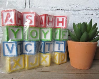 4 Candle Holders Plastic Alphabet Block Birthday Candleholders Vintage