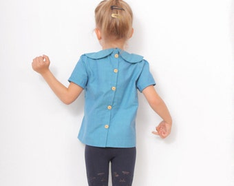 Peter Pan collar BLOUSE pattern - girls blouse patterns - children pdf sewing patterns