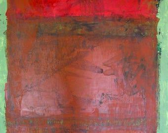 Orange Rust Green Color Block Original Painting Inspired by Mark Rothko. Rustic Urban Decay Impression Midcentury Modern Art Acrylic 24x18