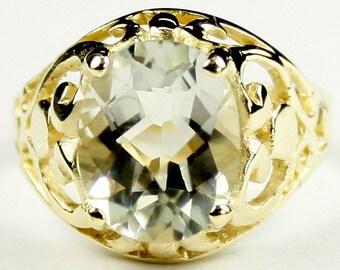 Green Amethyst, 18KY Gold Ring, R004