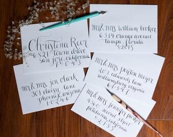 wedding caligraphy envelopes/ christmas caligraphy envelopes/ wedding envelopes/ hand lettered envelopes/ caligraphy envelopes/ envelopes