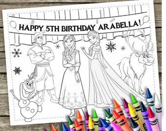 Frozen Digital Coloring Pages 6 Printable Disney Princess Party Favor Activities Anna Elza Olaf
