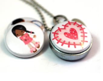 Little Girl Locket, African American Girl, African American Boy, Gift for African American Girl, Heart, Personalized with Stamped Initial