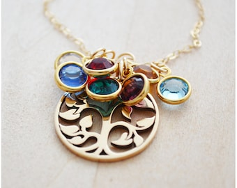 Tree of Life Necklace with 7 Birthstones - Family Tree Necklace - Swarovski Birthstone Necklace - Seven Grandkids Gold Filled - Grandma