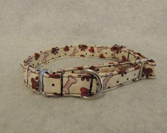 Small Medium or  Large Martingale  Dog Collar  Beige w/ Hearts Bones Dots
