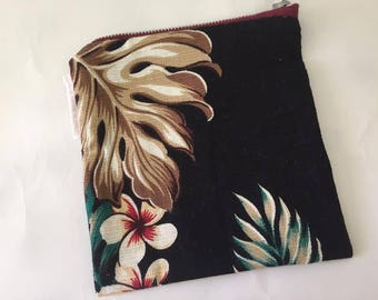 Hawaiian Patterned Coin Purse | Zipper Purse | Small Bag | pencil Case | Cosmetic Bag | Secret Santa Gift | Stocking Filler