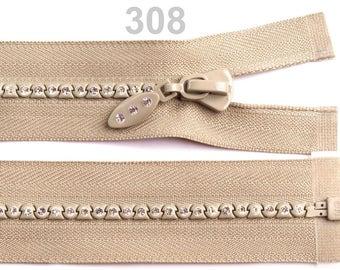closure detachable 65 cm, beige, with Rhinestone mesh