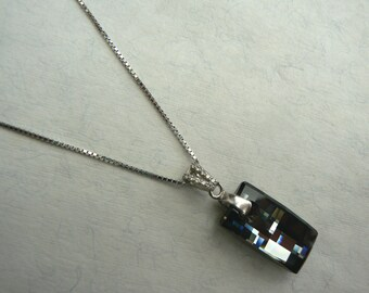 Art Deco style Dark Sterling Silver CZ Urban Silver Night crystal pendant on dark box chain