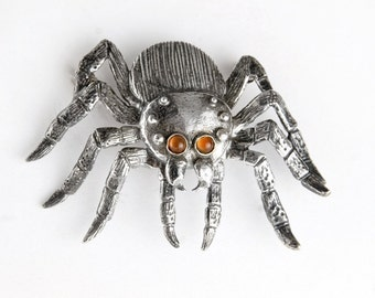 Carnelian Eyes Tarantula Sterling Silver Pin Brooch