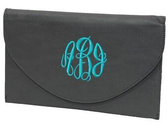 Monogrammed Envelope Purse | Formal Handbag | Bridesmaid Clutch | Envelope Clutch | Bridesmaid Gift | Formal Crossbody Bag | Grey Clutch