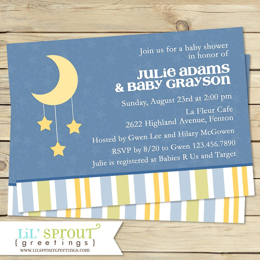 Little star moon baby shower invitation twinkle little star moon baby shower invitation filmwisefo Gallery