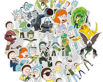 100pcs/Lot American Drama Rick and Morty Funny Sticker Decal For Car Laptop Bicycle Motorcycle Notebook