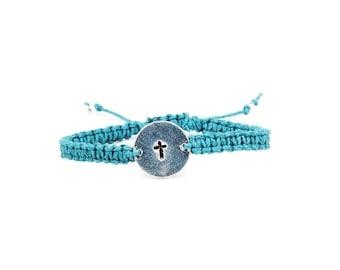 Cross Bracelet, Hemp Bracelet, Personalized Jewelry, Thankful Jewelry, Grateful Bracelet, Inspirational Bracelet