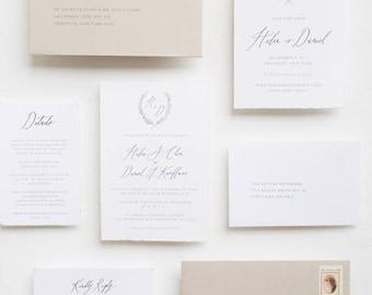 "Handmade Paper Calligraphy Invitation Suite / ""Heather"" Suite"
