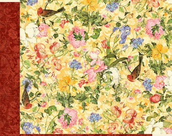 Graphic 45 Floral Shoppe-Golden Serenity-Double-sided sheet 12x12 cover-weight-acid and lignin free
