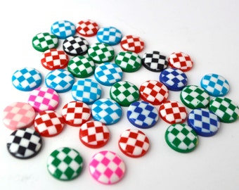 20 PC Blue Navy Green Red and Pink Checkers Pattern Round Mixed Resin Flatbacks Decoden Cabochon Hair Bows DIY Projects az357