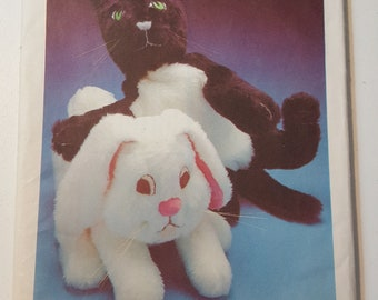 Floppy Kitten and Rabbit | Style 1990 UNCUT Vintage Sewing Pattern | One Size