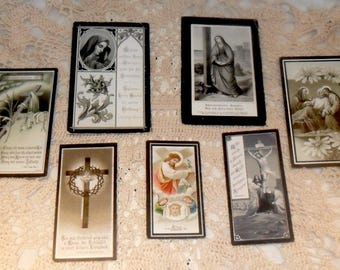 7 Antique German Death Cards~Funeral Cards~German Religious Prayer Cards~Funeral~Death Art~