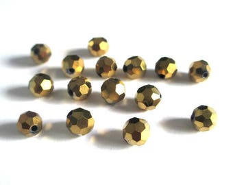 10 Gold 6mm faceted round Crystal beads