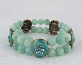 Cameron (Amazonite & Reclaimed Enamel Spacers Stretch Elasticated Bracelet) | Gemstone Bracelet | OOAK