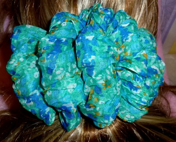 Becky Bows ~  Barrette scarf Hand crafted oversized  BIG hair bow Women or Girls turquoise blue watercolor