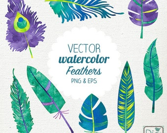 Vector Watercolor Feathers Clip Art - Hand Painted Feathers, Peacock Feathers, Watercolor Feathers Png & Eps - Instant Download