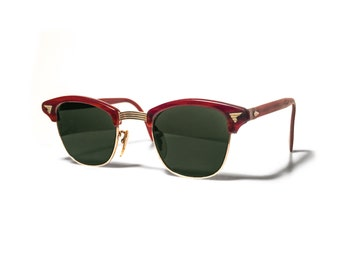 Vintage American Optical Calobar Style Clubmaster Sunglasses 1950s Mid Century