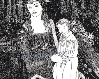 Mother & Child Aubrey Beardsley 1895 Vintage Victorian Madonna Print To Frame Black and White