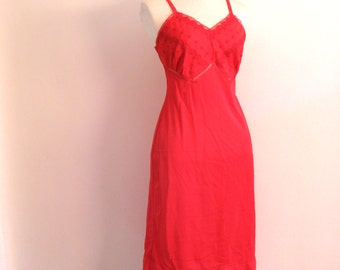 50s red slip - vintage Kayser bright cherry lace floral embroidered mid century pinup retro nylon full lingerie nightgown small medium