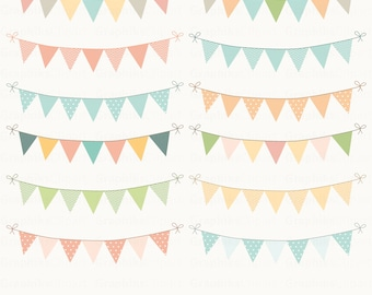 Bunting Flags Clipart. Bunting Clipart. Digital Bunting. Polkadot Bunting. 12 images, 300 dpi. Eps, Png files. Instant Download.
