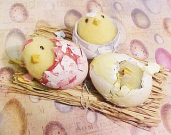 Three Hatching Chicks Emerging From Eggs | Easter Assemblage Supply