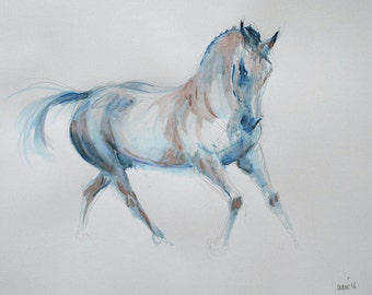 Original horse art equine art energy and movement equine horse mixed media sketch movement art drawing 'Blue I' by H Irvine