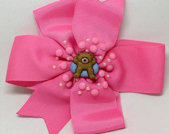 Teady Bears On Holiday - Large: 12.5cm Pinwheel Hair Bow Clip