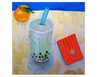Bubble Tea in a still life of good fortune • art print • Lunar New Year • luck • giclee • red envelope • green tea • still life • royal blue