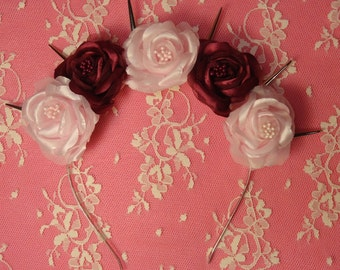 Goth flower crown Cherrie Cherie  - Pastel goth flower crown/ pink roses and burgundy roses with silver spikes