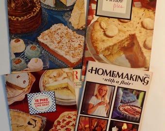 Set of 4 Vintage Recipe Cookbooks Pies Electric Mixer Recipes Household Tips 1950s to 1970s Nostalgia Retro