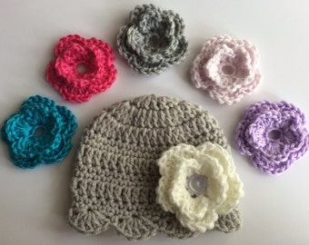 SALE!!! Interchangeable Flower Baby Hat - photo prop