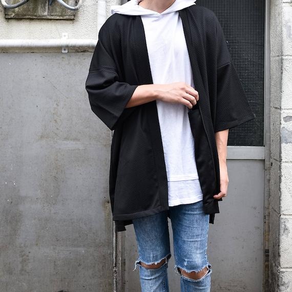 Men's Olive Green Japan Kimono Cardigan, Man Noragi Coat, Unisex Oversized Street Haori Jacket, Fall Streetwear, Loose Style Yukata Overcoat