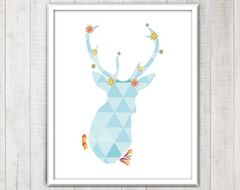 Deer head Stag Antlers Silhouette with triangles and floral details
